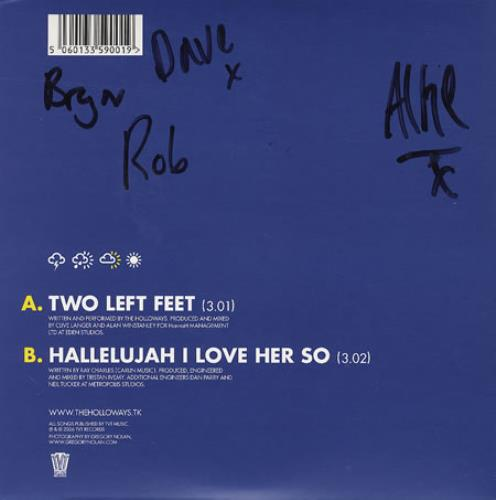 """The Holloways Two Left Feet - Autographed 7"""" vinyl single (7 inch record) UK HOY07TW368999"""