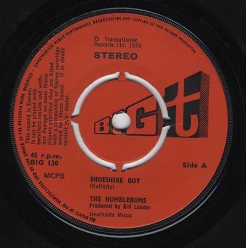 "The Humblebums Shoeshine Boy 7"" vinyl single (7 inch record) UK UHB07SH222269"