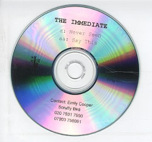 The Immediate Never Seen CD-R acetate UK TJ5CRNE319286
