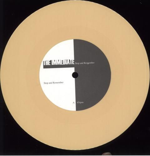 """The Immediate Stop And Remember - Gold + Badge 7"""" vinyl single (7 inch record) UK TJ507ST708764"""