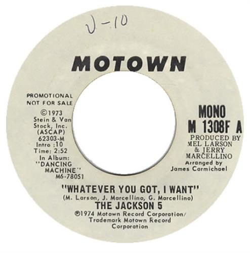"""The Jackson Five Whatever You Got I Want 7"""" vinyl single (7 inch record) US JKS07WH107432"""