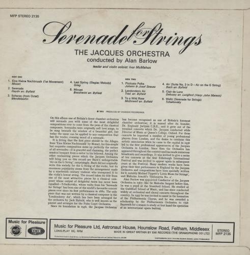 The Jacques Orchestra Serenade For Strings vinyl LP album (LP record) UK 2K2LPSE757507