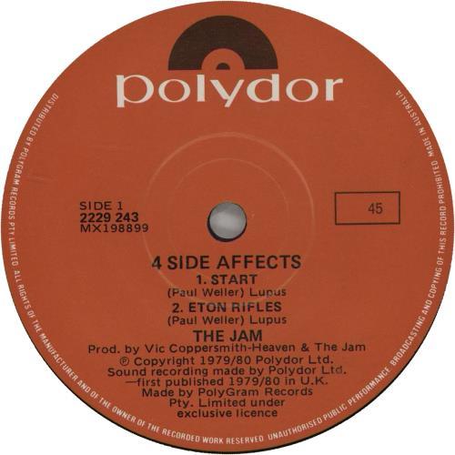 "The Jam 4 Side Affects 7"" vinyl single (7 inch record) Australian JAM07SI156387"
