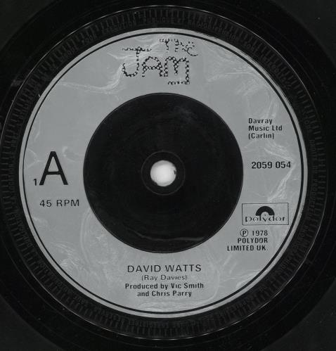 "The Jam David Watts - Injection Label + Sleeve 7"" vinyl single (7 inch record) UK JAM07DA717358"