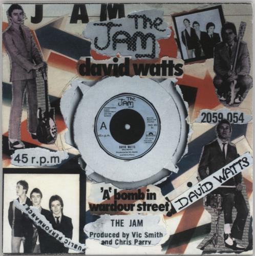 "The Jam David Watts/'A' Bomb In Wardour St - Punk Art Sleeve 7"" vinyl single (7 inch record) UK JAM07DA757457"