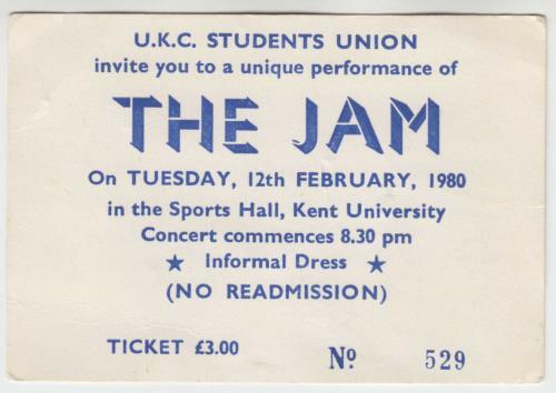 The Jam Kent University 1980 Ticket - Fully Autographed memorabilia UK JAMMMKE767007