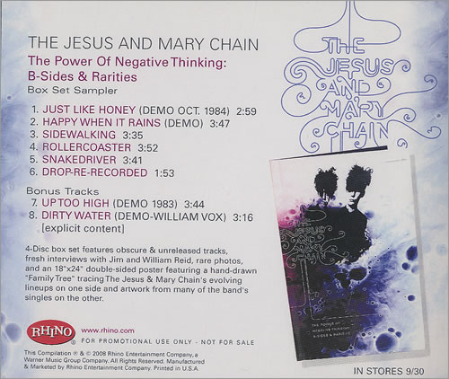 The Jesus & Mary Chain The Power Of Negative Thinking: B-Sides & Rarities CD-R acetate US JMCCRTH449437