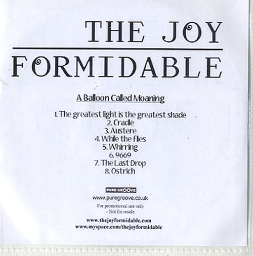 The Joy Formidable A Balloon Called Moaning CD-R acetate UK T75CRAB617581