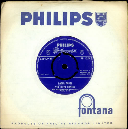 "The Kaye Sisters Paper Roses 7"" vinyl single (7 inch record) UK KS107PA408614"