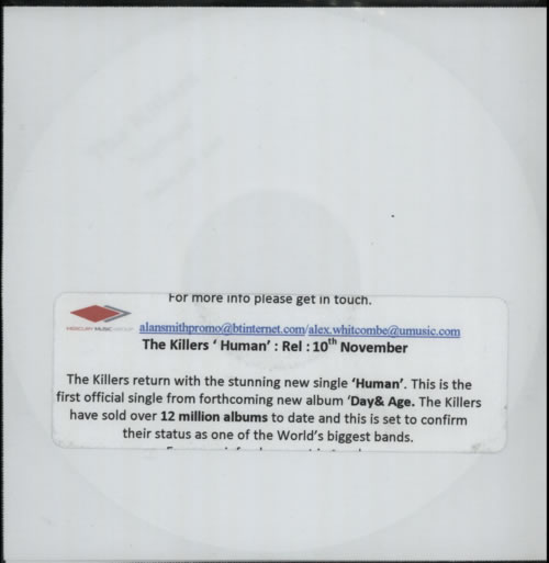 The Killers Human CD-R acetate UK TKICRHU606907