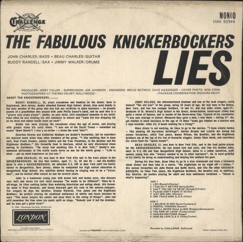 The Knickerbockers Lies vinyl LP album (LP record) UK KKRLPLI724714