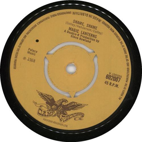 """The Magic Lanterns Shame, Shame 7"""" vinyl single (7 inch record) UK AGM07SH591511"""