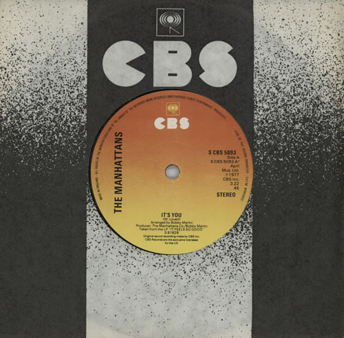 """The Manhattans It's You 7"""" vinyl single (7 inch record) UK MH707IT572843"""