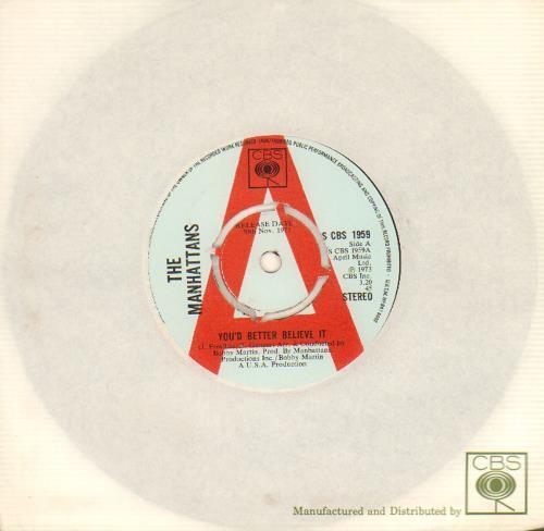"The Manhattans You'd Better Believe It 7"" vinyl single (7 inch record) UK MH707YO643106"