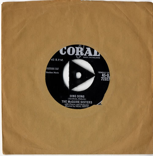 """The McGuire Sisters Ding Dong 7"""" vinyl single (7 inch record) UK 7MS07DI614188"""