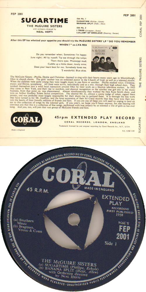 "The McGuire Sisters Sugartime EP 7"" vinyl single (7 inch record) UK 7MS07SU641843"