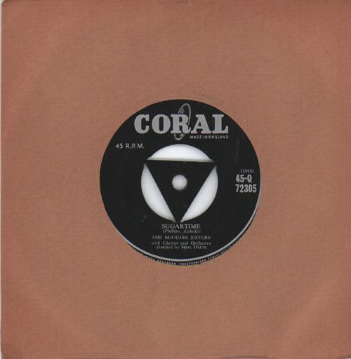 "The McGuire Sisters Sugartime 7"" vinyl single (7 inch record) UK 7MS07SU634350"