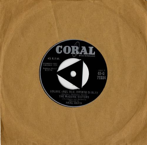 """The McGuire Sisters Volare (Nel Blu, Dipinto Di Blu) 7"""" vinyl single (7 inch record) UK 7MS07VO558255"""