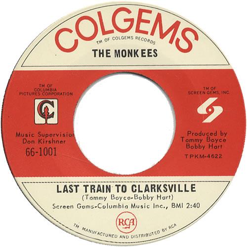 "The Monkees Last Train To Clarksville - P/S 7"" vinyl single (7 inch record) US MKE07LA457087"