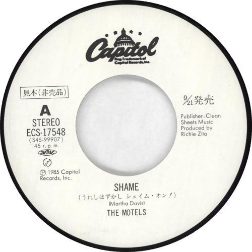 "The Motels Shame - White label + Insert 7"" vinyl single (7 inch record) Japanese OTE07SH714487"