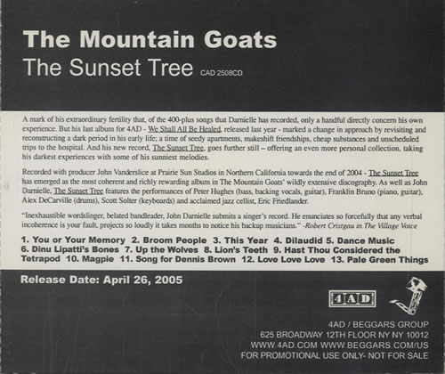 "The Mountain Goats The Sunset Tree CD single (CD5 / 5"") US MUGC5TH462697"