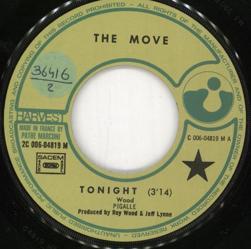 """The Move Tonight 7"""" vinyl single (7 inch record) French MOV07TO723501"""