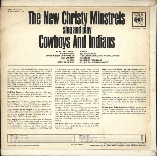 The New Christy Minstrels Sing and Play Cowboys and Indians vinyl LP album (LP record) UK NCMLPSI720256