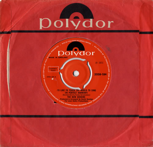 """The New Seekers I'd Like To Teach The World To Sing - 3 Prong 7"""" vinyl single (7 inch record) UK NWK07ID585841"""