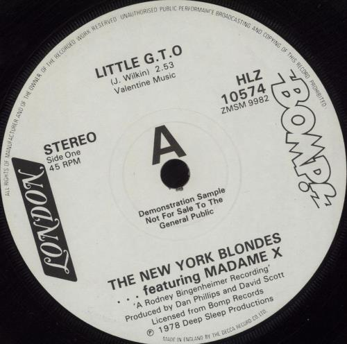 "The New York Blondes Little G.T.O - A Label 7"" vinyl single (7 inch record) UK NYB07LI681703"