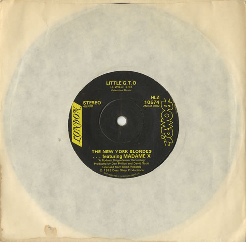 "The New York Blondes Little G.T.O 7"" vinyl single (7 inch record) UK NYB07LI213262"