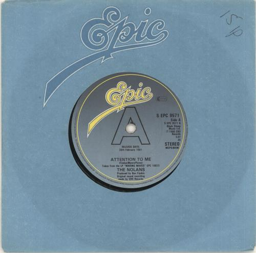 """The Nolans Attention To Me 7"""" vinyl single (7 inch record) UK NOL07AT734557"""