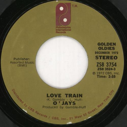"The O'Jays Love Train 7"" vinyl single (7 inch record) US OJY07LO748673"