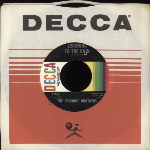 "The Osborne Brothers Listening To The Rain 7"" vinyl single (7 inch record) US UZK07LI719708"