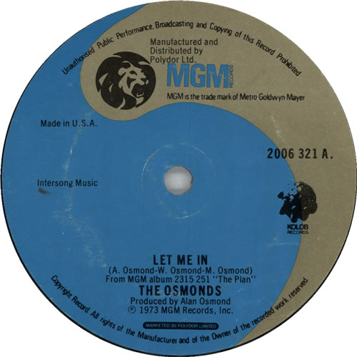 """The Osmonds Let Me In 7"""" vinyl single (7 inch record) US OSD07LE633235"""