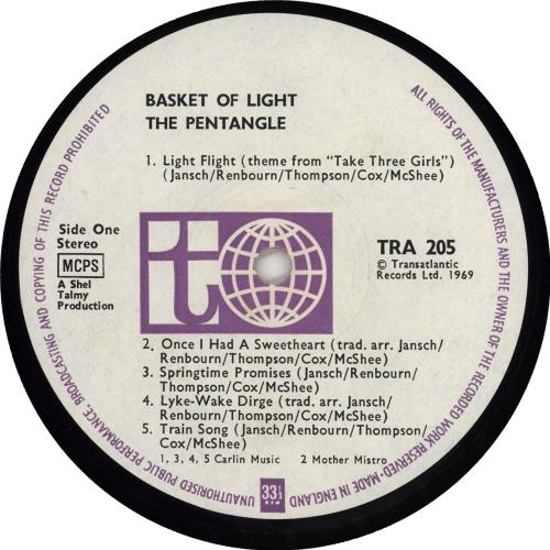 The Pentangle Basket Of Light - 1st - EX vinyl LP album (LP record) UK PNTLPBA766958