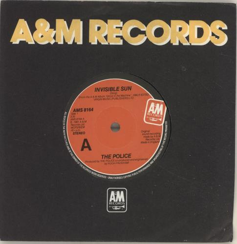"The Police Invisible Sun 7"" vinyl single (7 inch record) UK POL07IN560456"