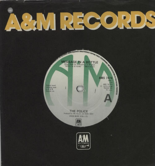 """The Police Message In A Bottle - Green titled labels 7"""" vinyl single (7 inch record) UK POL07ME601204"""