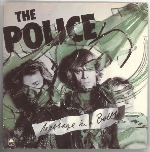 """The Police Message In A Bottle - Green Vinyl + P/S - EX 7"""" vinyl single (7 inch record) UK POL07ME438932"""