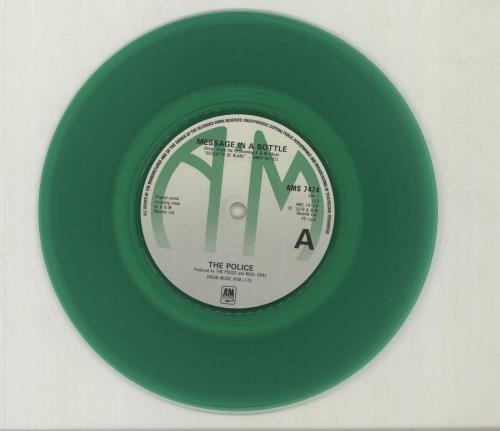 """The Police Message In A Bottle - Green Vinyl + Sleeve 7"""" vinyl single (7 inch record) UK POL07ME09683"""