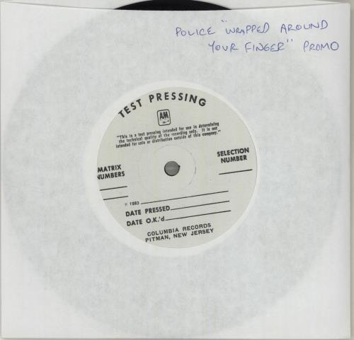 """The Police Wrapped Around Your Finger - Test Pressing 7"""" vinyl single (7 inch record) US POL07WR324214"""
