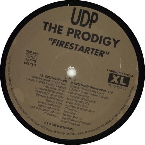 "The Prodigy Firestarter 12"" vinyl single (12 inch record / Maxi-single) Italian PDG12FI690433"