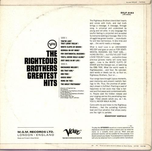 The Righteous Brothers Greatest Hits vinyl LP album (LP record) UK TRBLPGR692598