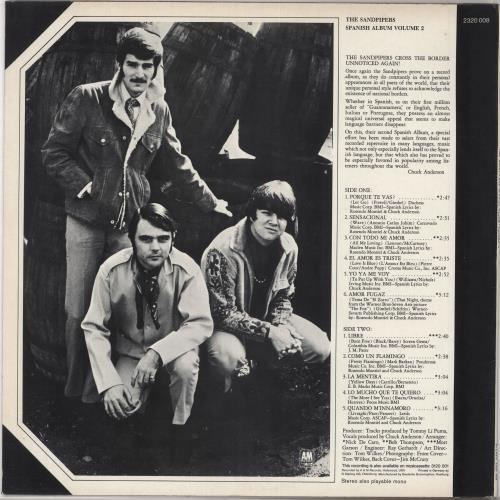 The Sandpipers Spanish Album Volume 2 vinyl LP album (LP record) German SDPLPSP730919