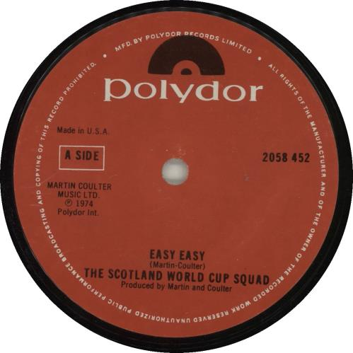 """The Scottish World Cup Squad Easy Easy 7"""" vinyl single (7 inch record) UK OSC07EA687844"""