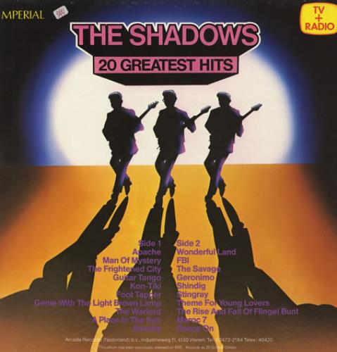 The Shadows 20 Greatest Hits vinyl LP album (LP record) Dutch SHDLPGR228095