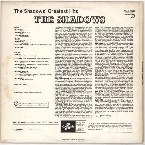 The Shadows Greatest Hits - Two Box - EMI - Sample vinyl LP album (LP record) UK SHDLPGR721065