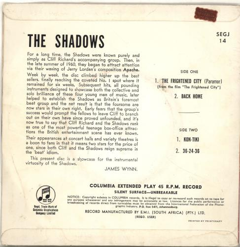 """The Shadows The Frightened City 7"""" vinyl single (7 inch record) South African SHD07TH693857"""