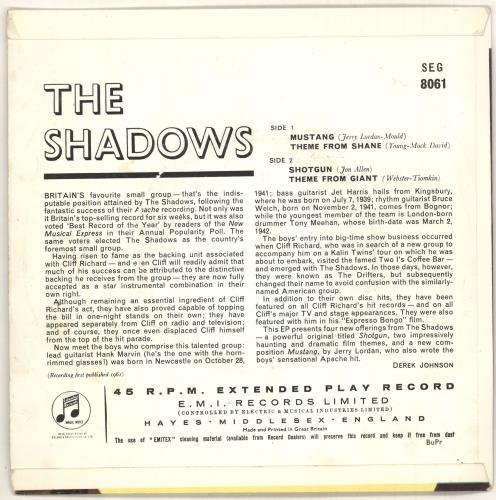 "The Shadows The Shadows EP - 1st - VG 7"" vinyl single (7 inch record) UK SHD07TH739120"