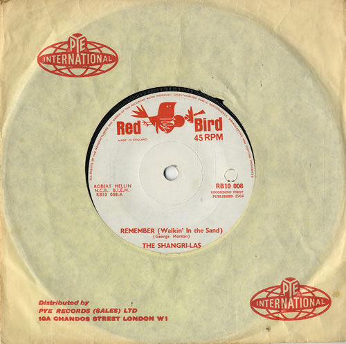 """The Shangri-Las Remember (Walking In The Sand) - Solid 7"""" vinyl single (7 inch record) UK SH007RE591505"""