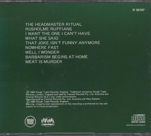 The Smiths Meat Is Murder CD album (CDLP) Australian SMICDME671005